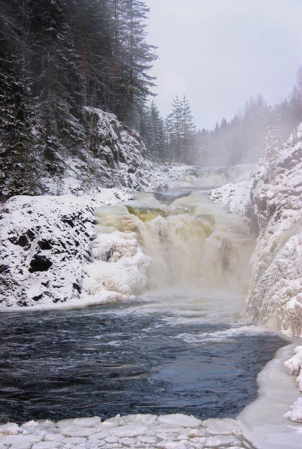 Paysage d'hiver avec la cascade images libres de droits