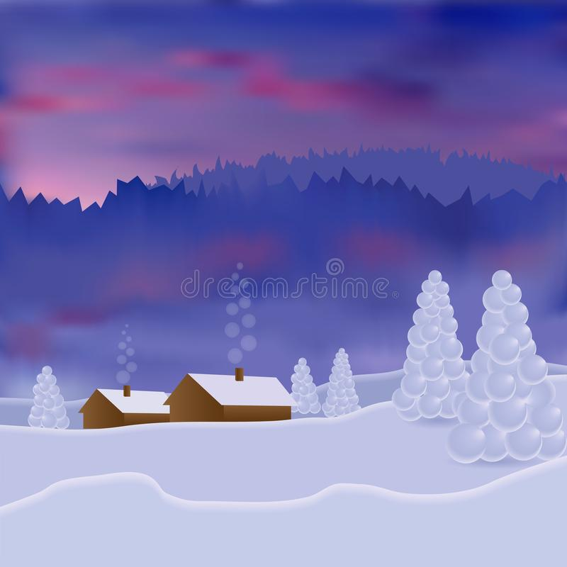 Paysage d'hiver avec la maison, la forêt et les montagnes de neige Beau coucher du soleil d'hiver, aube photo du vecteur 3D illustration de vecteur