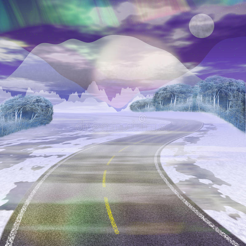 Paysage d'hiver avec la route bloquée par la neige, les montagnes, le ciel, la lune et la forêt illustration de vecteur