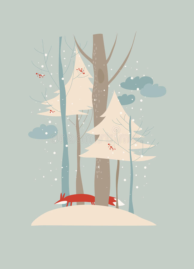 Paysage d'hiver avec les arbres et le renard illustration stock