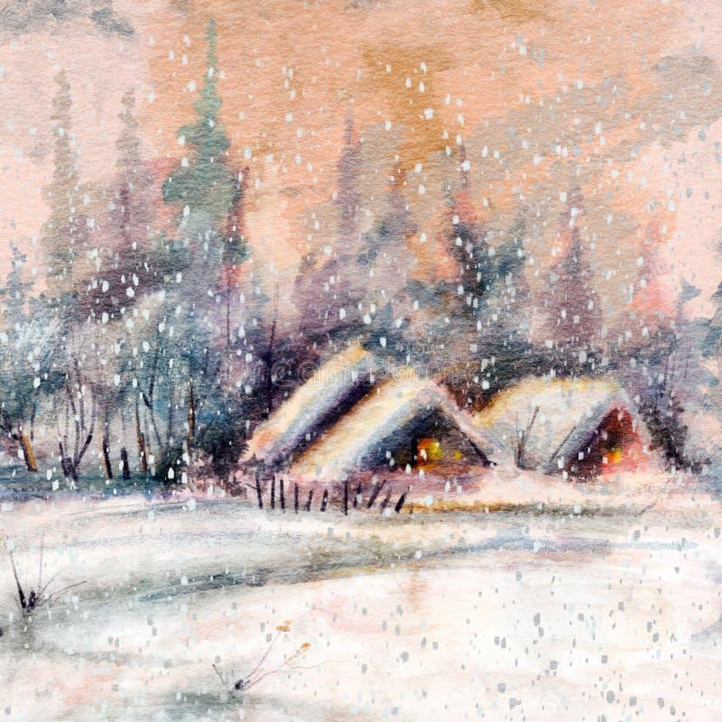 Paysage d'hiver avec un petit village au coucher du soleil illustration de vecteur