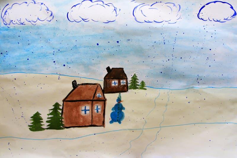 Paysage d'hiver dans le village Illustration puérile au sujet de l'hiver Vacances d'an neuf photographie stock libre de droits