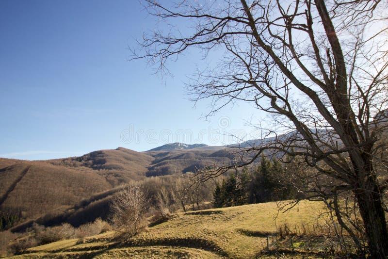 Paysage d'hiver dans un jour ensoleillé d'apennines ligurien image stock