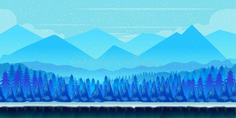 Paysage d'hiver de bande dessinée avec de la glace, la neige et le ciel nuageux fond de nature de vecteur pour des jeux illustration stock
