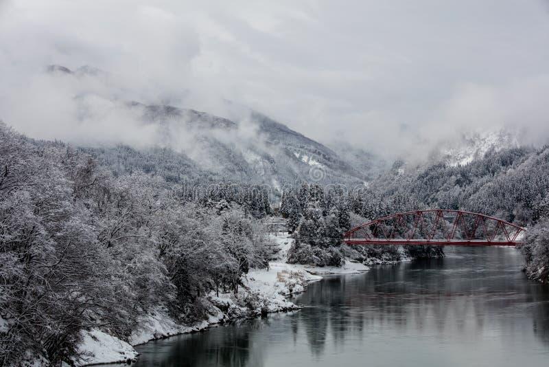Paysage d'hiver de campagne du Japon à la ville de Mishima photo libre de droits