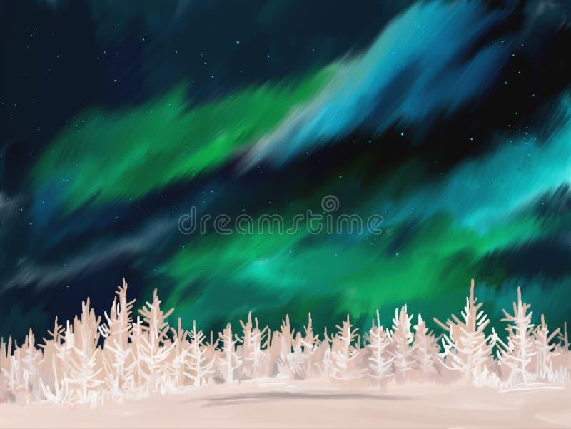 Paysage d'hiver de l'aurore illustration stock