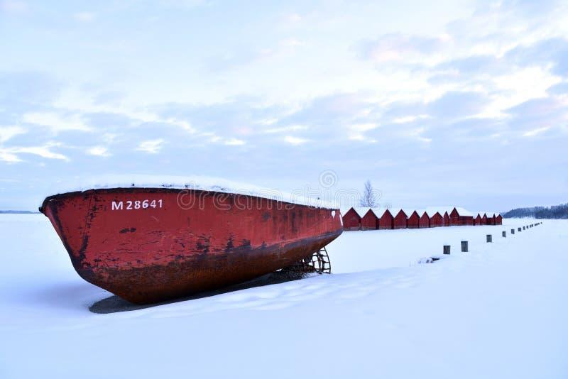 Paysage d'hiver de la Finlande image libre de droits
