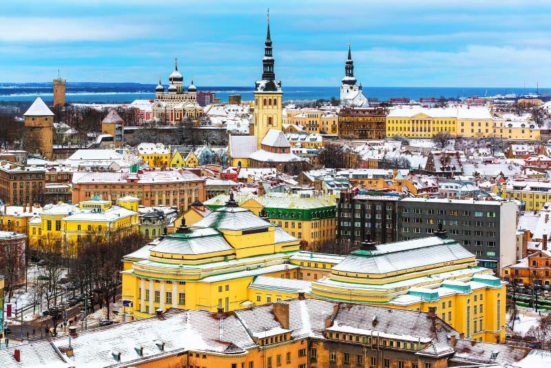 Paysage d'hiver de Tallinn, Estonie photo libre de droits