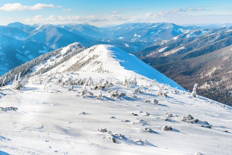 Paysage d'hiver en montagnes photographie stock