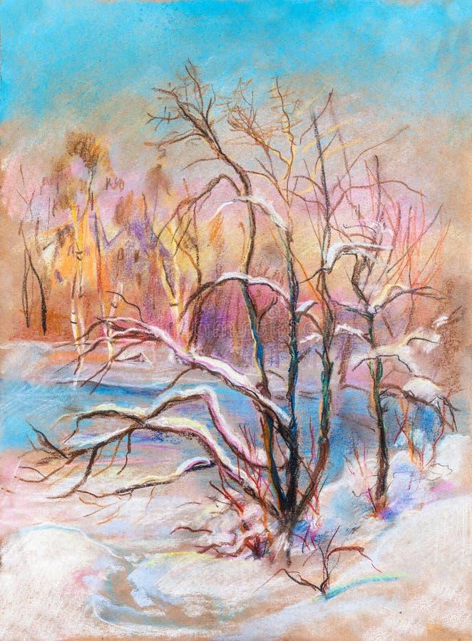 Paysage d'hiver, février illustration libre de droits