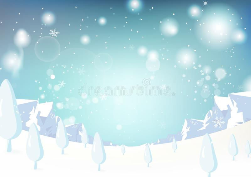 Paysage d'hiver, Noël et nouvelle année, imagination s de montagne de glace illustration de vecteur