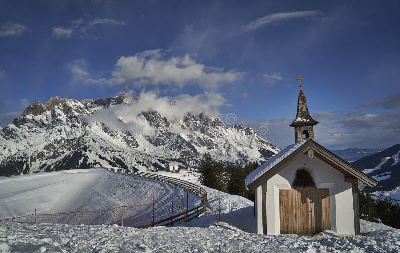 Paysage d'hiver, région de Hochkönig, Autriche photo stock