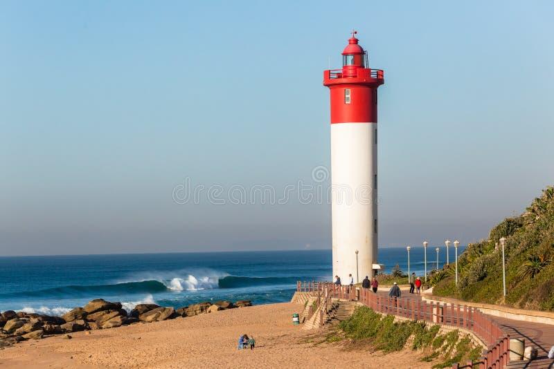 Paysage d'horizon d'océan de phare de plage images libres de droits