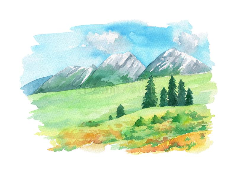 Paysage d'illustration avec des crêtes et des fleurs de montagne sur l'herbe verte Peint à la main dans l'aquarelle illustration libre de droits
