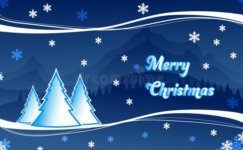 Paysage d'illustration de carte de voeux de Noël photos stock