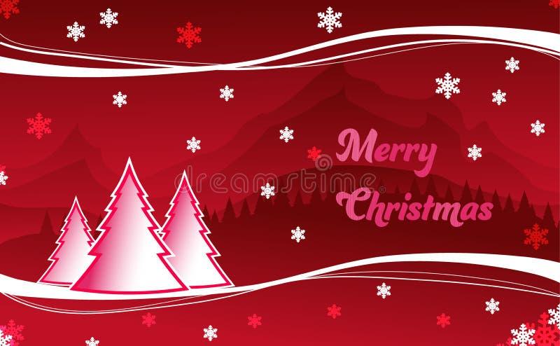 Paysage d'illustration de carte de voeux de Noël images stock