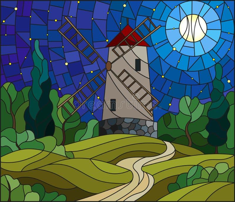 Paysage d'illustration en verre souillé avec un moulin à vent sur un fond de ciel étoilé et de lune illustration stock