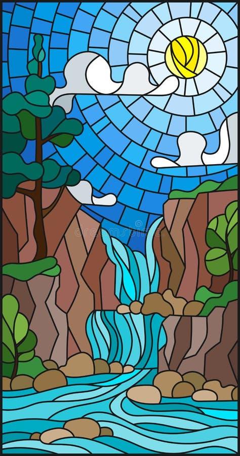 Paysage d'illustration en verre souillé, l'arbre sur le fond d'une cascade, montagnes, soleil et ciel illustration stock