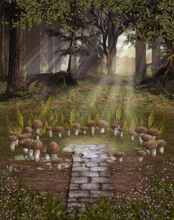 Paysage d'imagination avec des champignons de couche illustration de vecteur