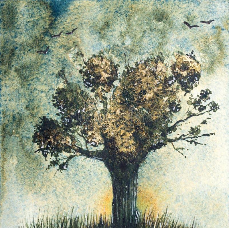 Paysage d'imagination avec l'arbre Illustraion tiré par la main d'aquarelle illustration libre de droits