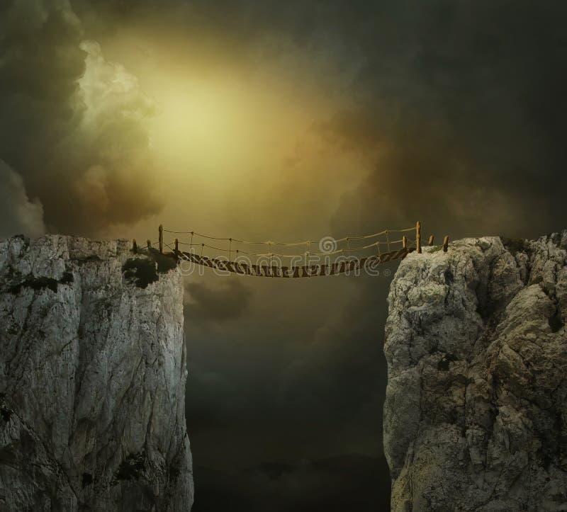 Paysage d'imagination avec les falaises et le pont illustration stock