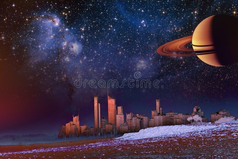 Paysage d'imagination - l'horizon moderne de ville au-dessus des éléments de dune et de brume de cette image a fourni par la NASA illustration libre de droits