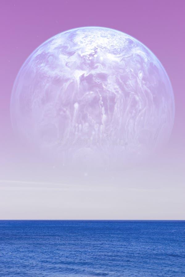 Paysage d'une planète étrangère - une planète bleue énorme photo stock