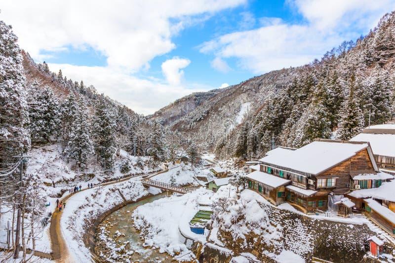 Paysage d'une vallée dans la saison d'hiver au Japon photographie stock