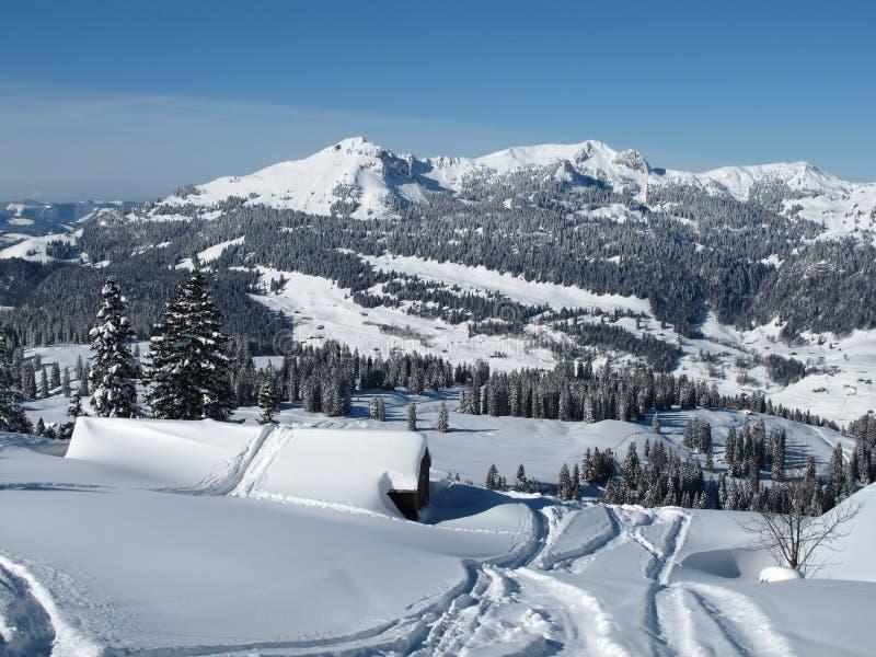 Paysage dans la région Toggenburg de ski images libres de droits