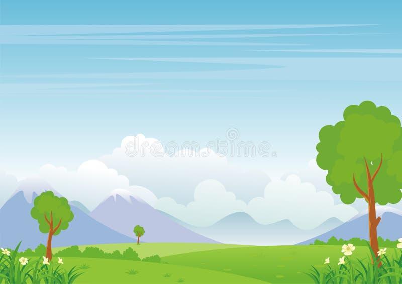 Paysage de bande dessinée, avec la belle et mignonne conception de paysage illustration de vecteur