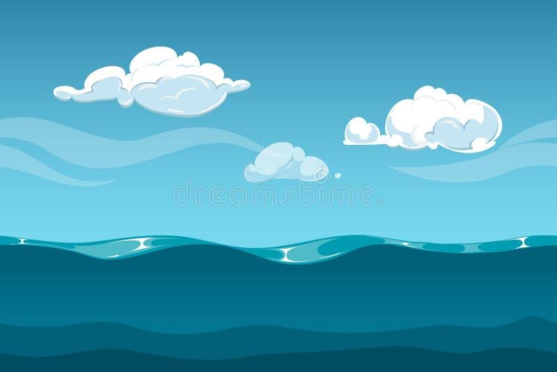 Paysage de bande dessinée de mer ou d'océan avec le ciel et les nuages Fond sans couture de vagues d'eau pour le concepteur du je illustration libre de droits