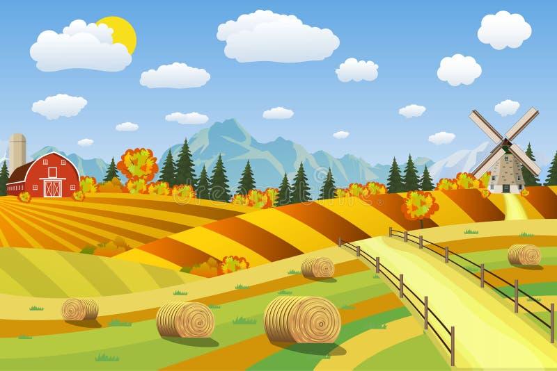 Paysage de campagne avec des meules de foin sur des champs illustration libre de droits