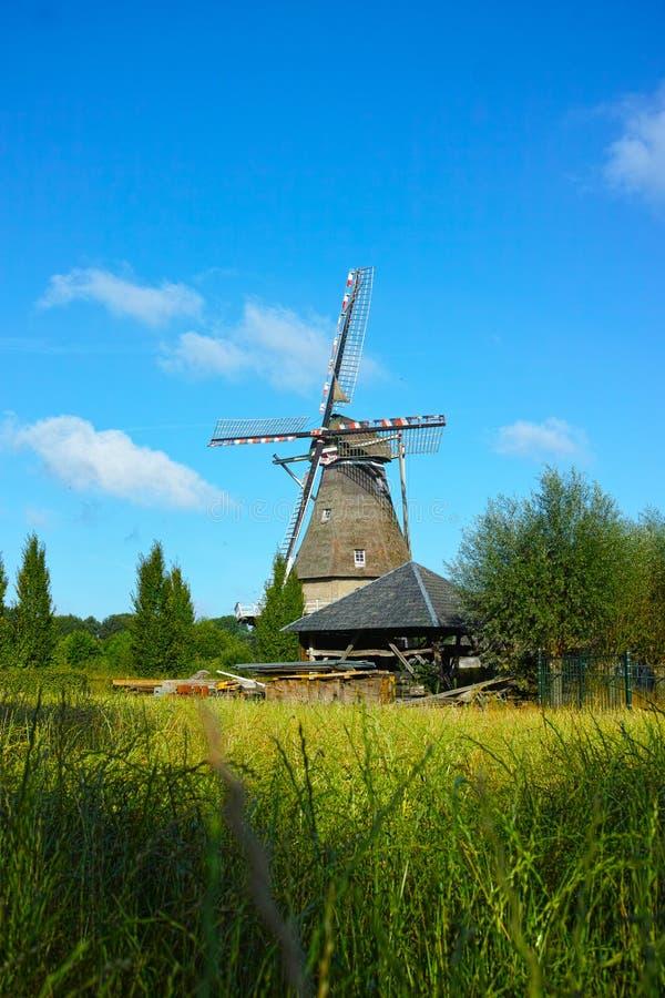 Paysage de campagne avec le moulin et la ferme néerlandais traditionnels de grain photos stock