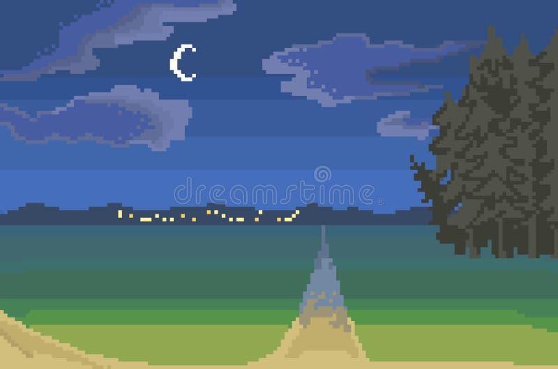 Paysage de campagne de nuit, art de pixel illustration stock