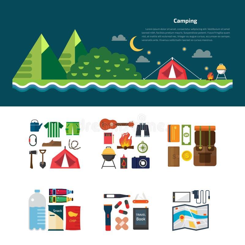 Paysage de camping infographic et réglé des symboles et des icônes d'équipement de camping illustration de vecteur