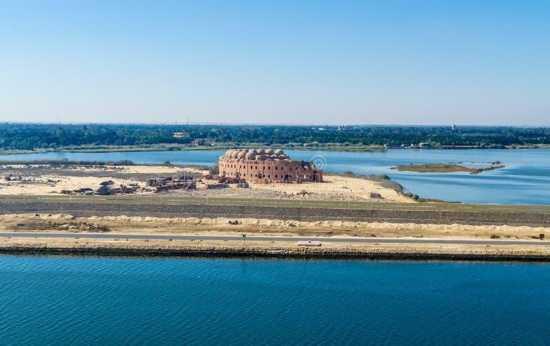 Paysage de canal de l'Egypte, Afrique, Suez image libre de droits