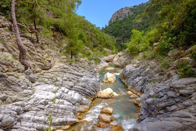 Paysage de canyon de Goynuk, de la Turquie, d'eau d'urquoise et de montagnes à l'arrière-plan images libres de droits
