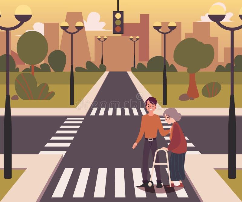 Paysage de carrefour avec un homme aidant l'illustration plate de vecteur de dame pluse âgé illustration libre de droits