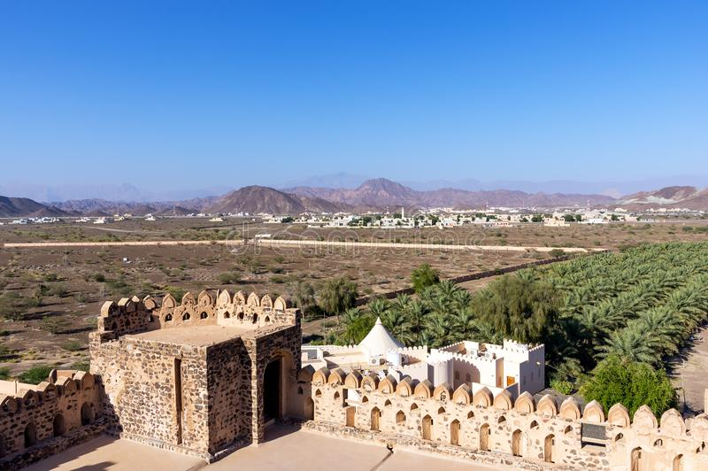 Paysage de château de Jabreen - Oman photos libres de droits