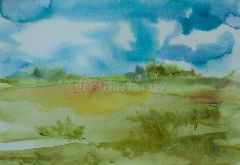 Download Paysage De Champ Vert Et De Ciel Bleu Illustration Stock - Illustration du juillet, vert: 76086590