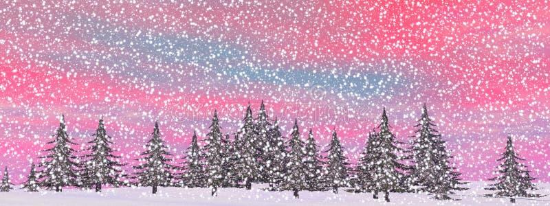 Paysage de chute de neige d'hiver - 3D rendent illustration libre de droits