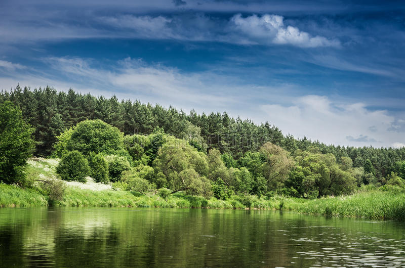 Paysage de ciel, de forêt et du lac photographie stock