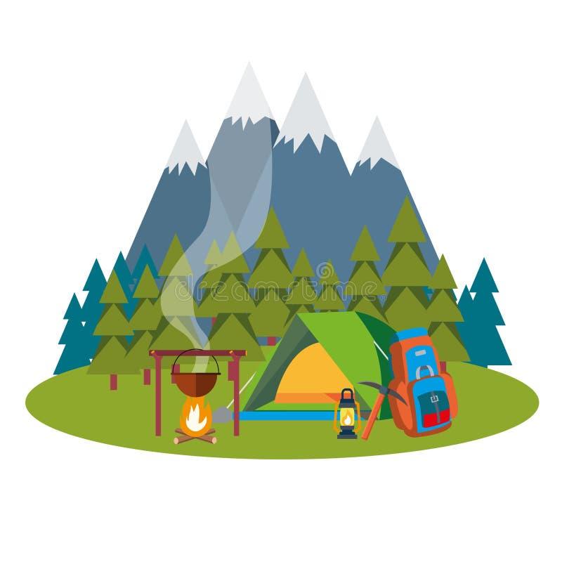 Paysage de colonie de vacances avec la tente et la forêt et les montagnes de feu de camp sur le fond photographie stock libre de droits