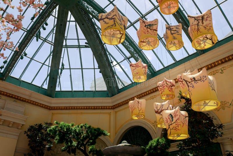 Paysage de conservatoire d'hôtel de Bellagio et de jardins botaniques à Las Vegas photos libres de droits