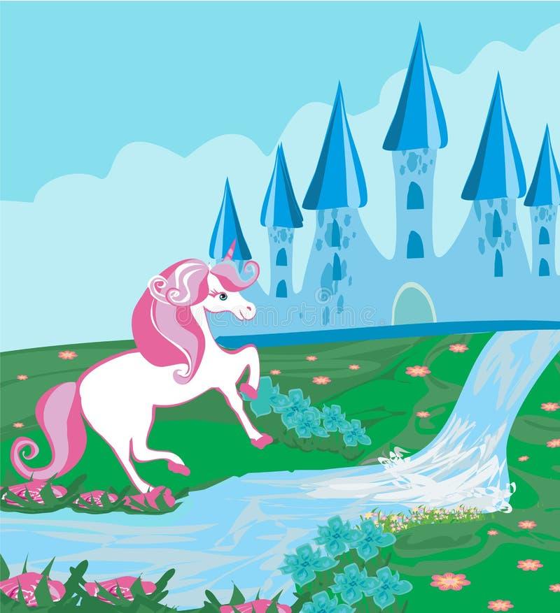 Paysage de conte de fées avec le château magique et la belle licorne illustration stock
