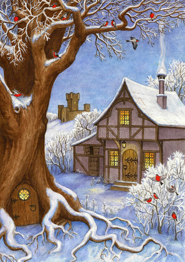 Paysage de conte de fées d'hiver illustration de vecteur