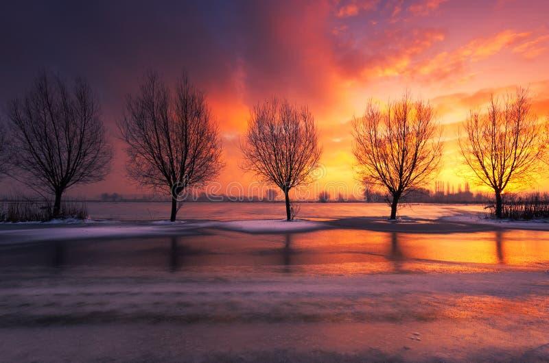 Paysage de coucher du soleil d'hiver photo libre de droits