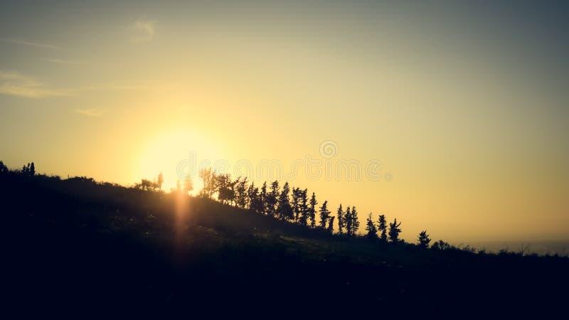Paysage de coucher du soleil de l'Algérie images libres de droits