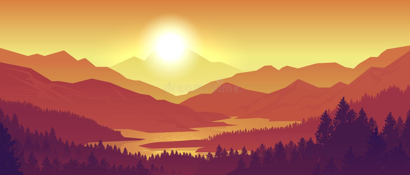 Paysage de coucher du soleil de montagne Silhouettes réalistes de forêt et de montagne de pin, égalisant le panorama en bois Natu illustration de vecteur