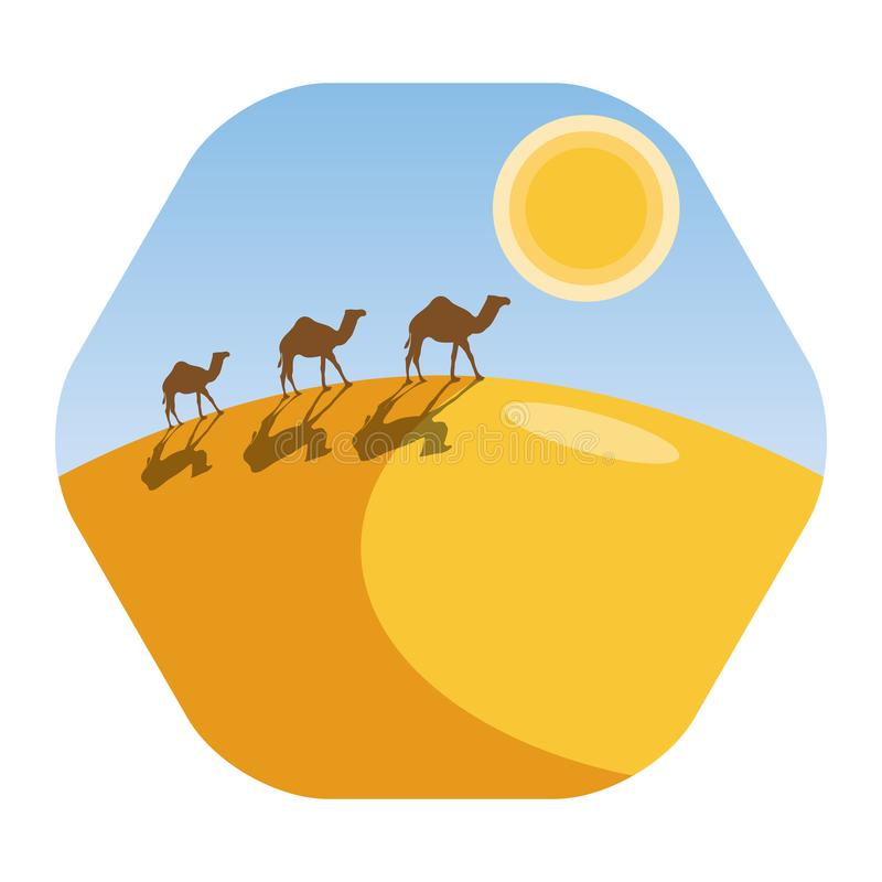 Paysage de désert avec la caravane de chameau photographie stock